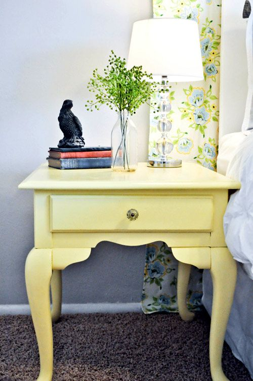 I gave a table just like this (but without the charming yellow paint) to my stepdaughter and had suggested she paint it. I'll share this with her to inspire her to make the table so much homier!