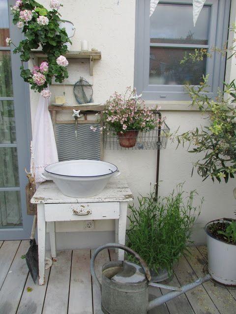Im Sommer Auf Die Terrasse Damit Eimer Blecheim Auf Blecheim Damit D Garden Decorations Gardendesign Rusty Garden Garden Decor Shabby Chic Garden
