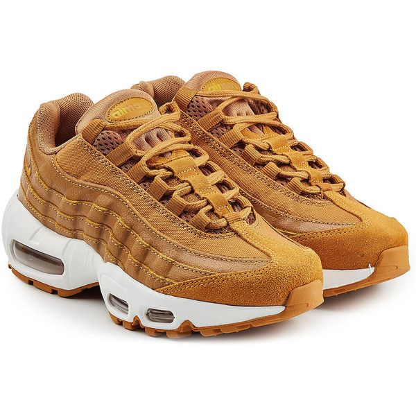 Nike Air Max 95 Premium Leather Sneakers ($219) ❤ liked on Polyvore featuring shoes, sneakers, camel, real leather shoes, genuine leather shoes, nike footwear, nike trainers and nike shoes