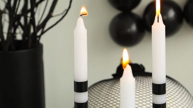 DIY Halloween Candles - Striped Tape Tapers