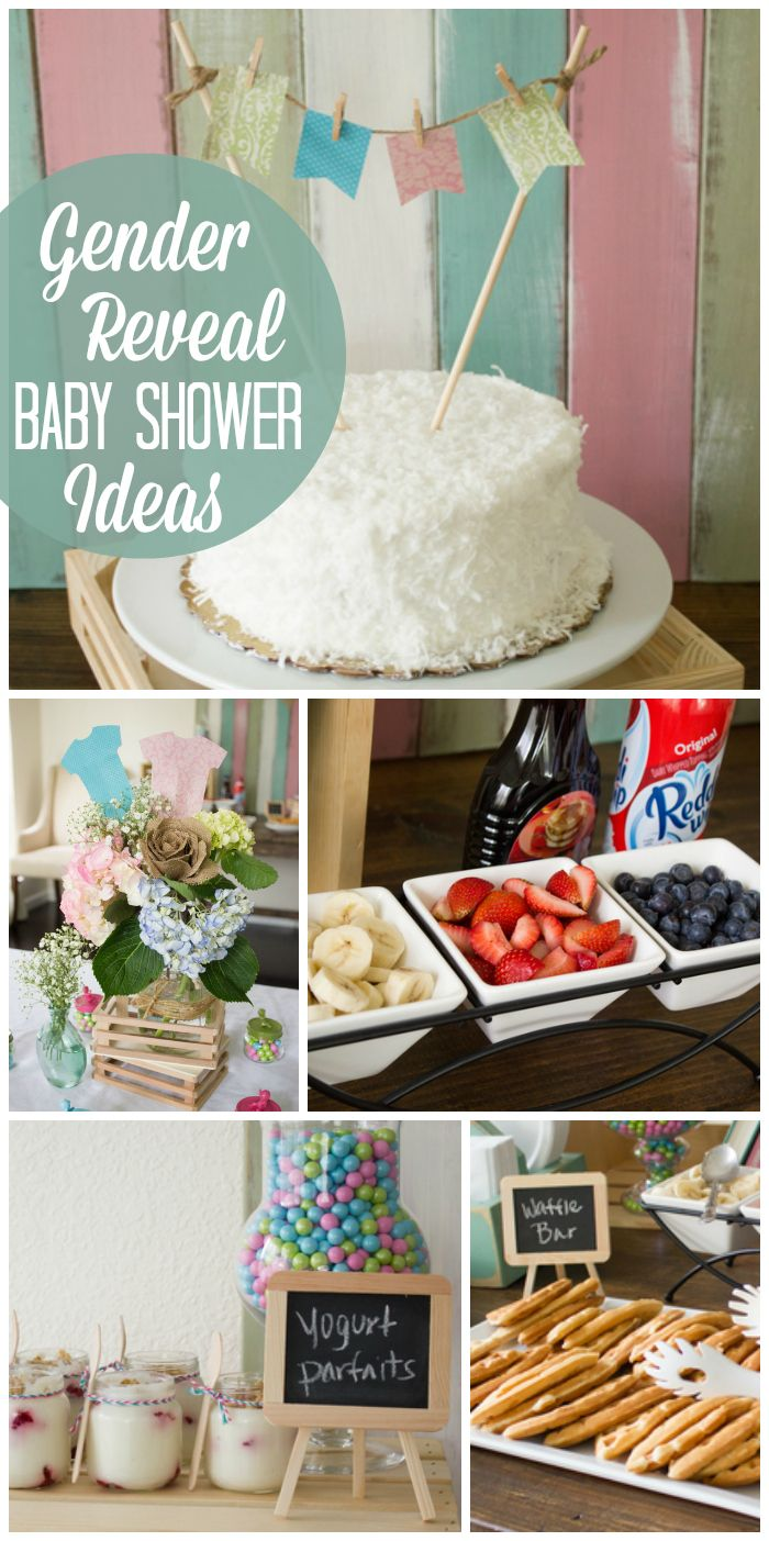This rustic gender reveal baby shower features a DIY waffle bar, yogurt parfaits, and a coconut cake.  See more party ideas at CatchMyParty.com!