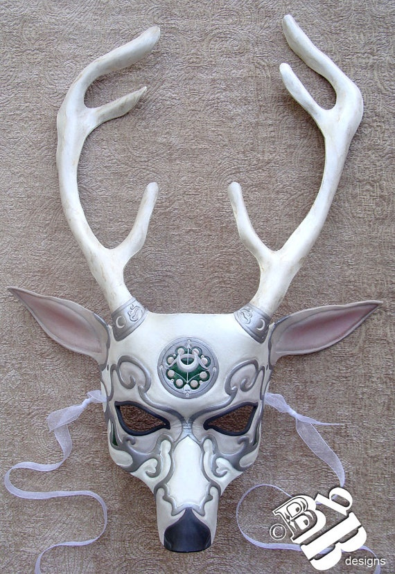 White Stag Mask  <3 I really would love something like this that would go with your garb, and the dark red and black theme. It should lean more towards the horned god also.