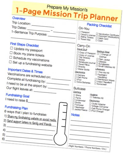 Preparing for a mission trip means keeping track of a lot of details. This will help!