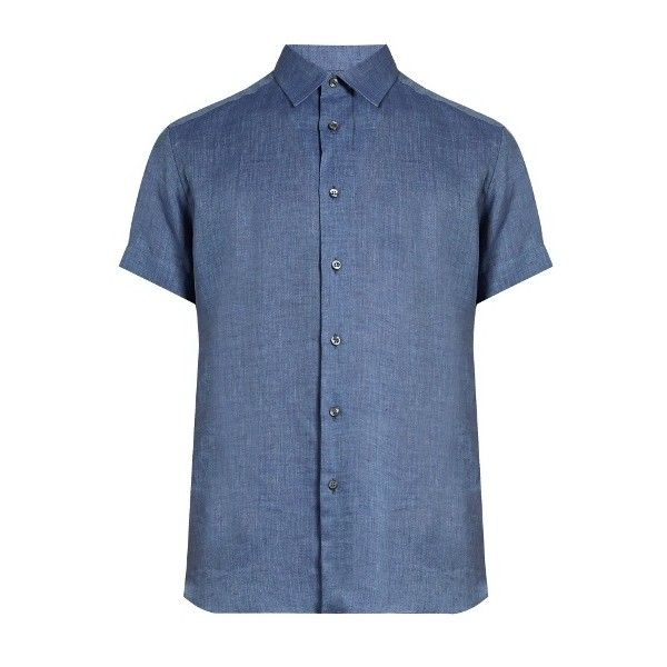 Brioni Loose-fit linen shirt ($343) ❤ liked on Polyvore featuring men's fashion, men's clothing, men's shirts, men's dress shirts, light blue, mens loose shirts, mens dress shirts, mens short sleeve linen shirt, mens light blue linen shirt and mens linen dress shirts