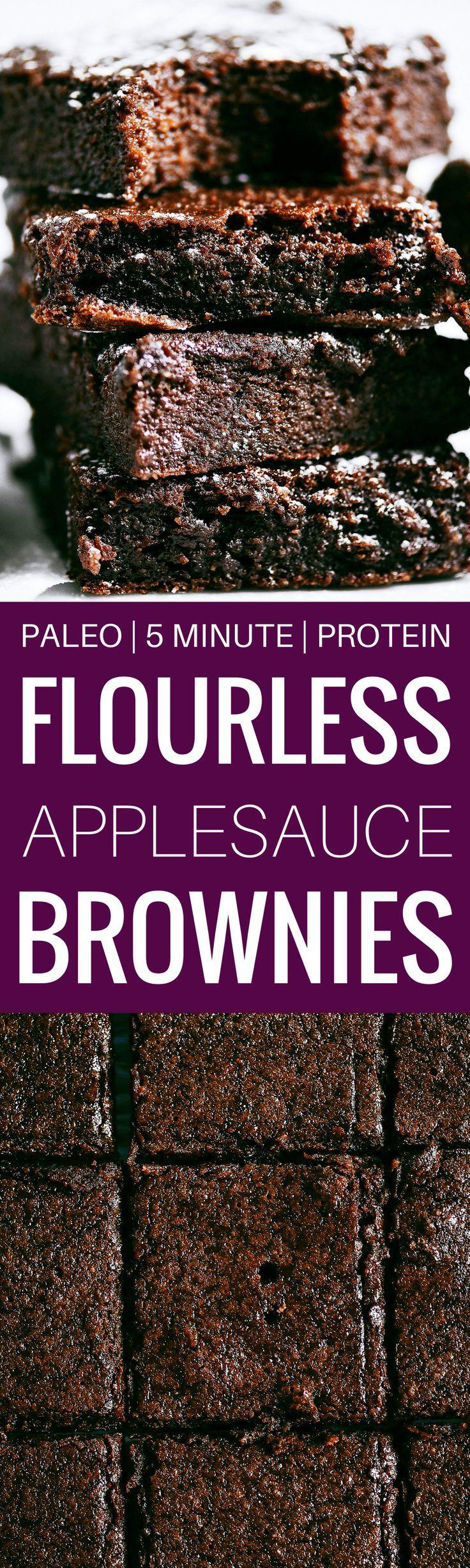 Fudgy Flourless Paleo Applesauce Brownies  (gluten free, dairy free)