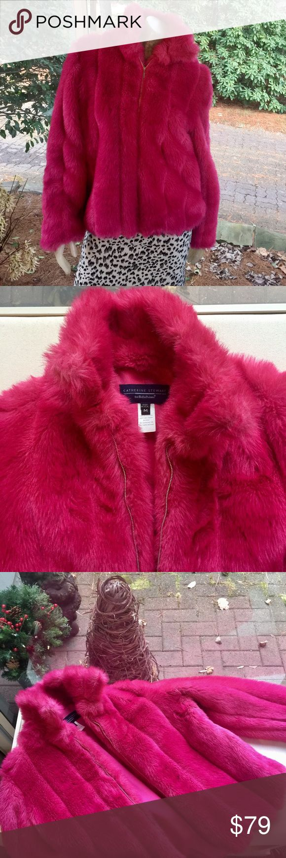 Hot Pink Faux Fur Warm New Years Eve Jacket Catherine Stewart Hot Pink Faux Fur, Lined, Warm, Zip-Up Jacket in excellent, like-new condition. Perfect for ringing in your New Year's party! Size Medium. Boutique Jackets & Coats