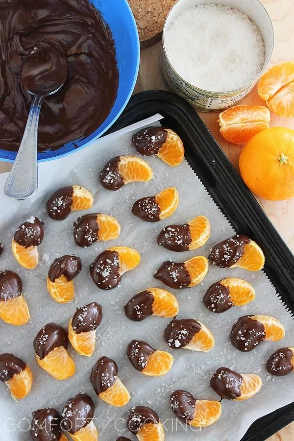 Mmm... Chocolate Dipped Clementines with Sea Salt  and other chocolate-covered fruit ideas beyond strawberries.
