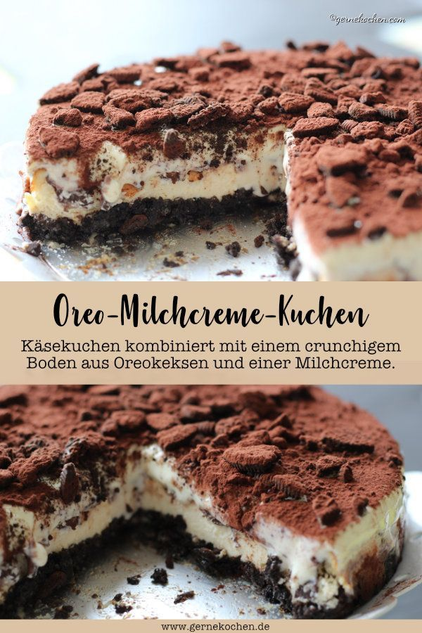 Hier kommt unser Rezept für einen Käsekuchen. Das Besondere ist der Boden aus crunchigen Oreokeksen. Eine Milchcreme und Kakao rundet diesen tollen Kuchen wunderbar ab.