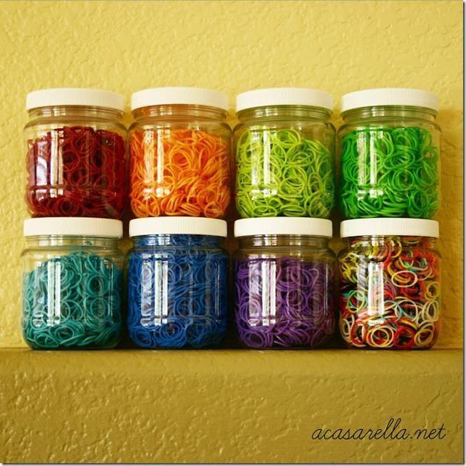 Rainbow Loom mason jar organization