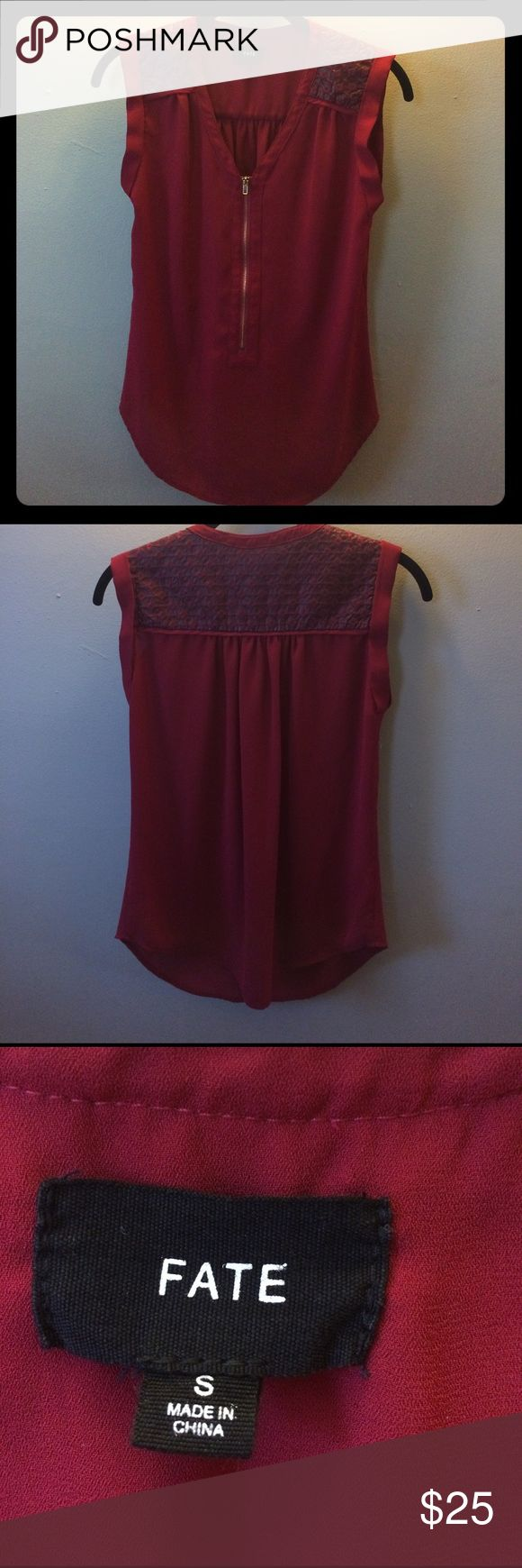 Antonietta Zip-Front Sleeveless Blouse Beautiful Antonietta Zip-Front Sleeveless Blouse with front gold zipper and patterned top. Great for work or a night on the town! Only worn once. Fate Tops Blouses
