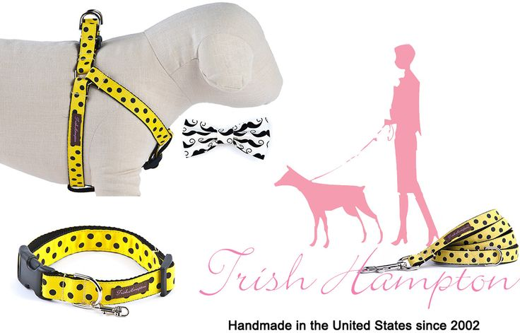 Trish Hampton designs handmade dog collars, leads , harnesses and bow ties for your four-legged friends.