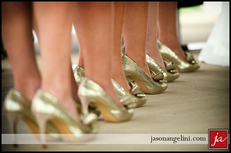 Gold bridesmaids shoes