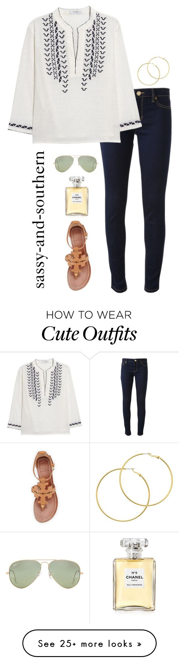 cute dinner outfit by sassy-and-southern on Polyvore featuring Michael Kors, MANGO, Tory Burch, Melissa Odabash, Chanel, Ray-Ban and ToryBurch