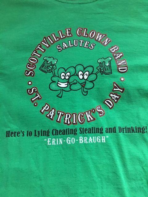 Scottville Clown Band T Shirt, St Patrick's Day, Size L