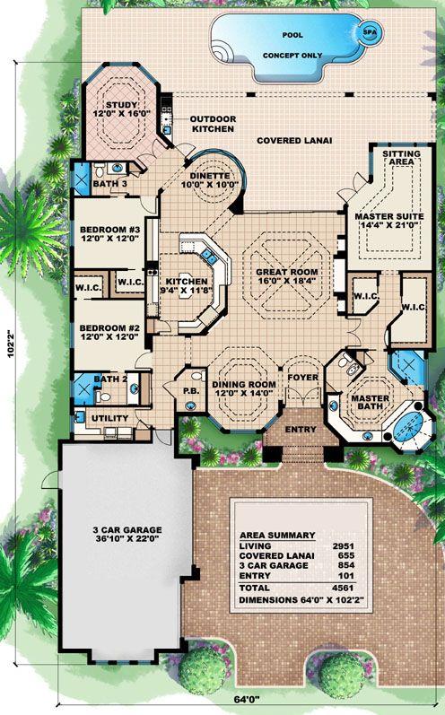House Plan 1018 00046 Florida Plan 2 951 Square Feet 3 Bedrooms 3 5 Bathrooms Mediterranean House Plan How To Plan House Plans