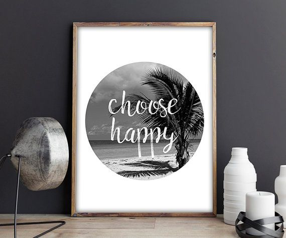 70% OFF SALE / Choose Happy / Black and White / by NeedForPrint