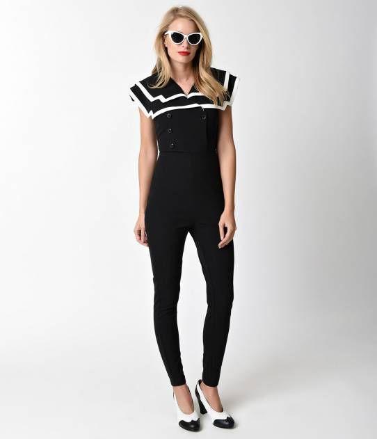 Vintage Style Black Amp White Cap Sleeve Sailor Jumpsuit
