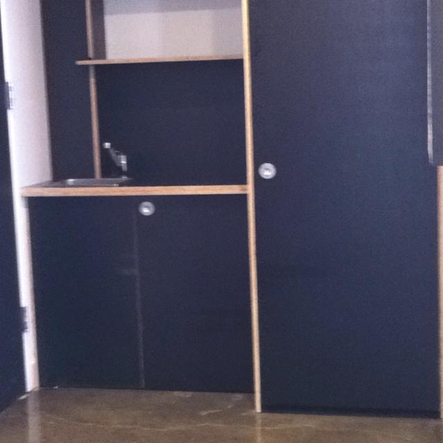 Warehouse conversion loft laundry made from marine ply, Richmond VIC