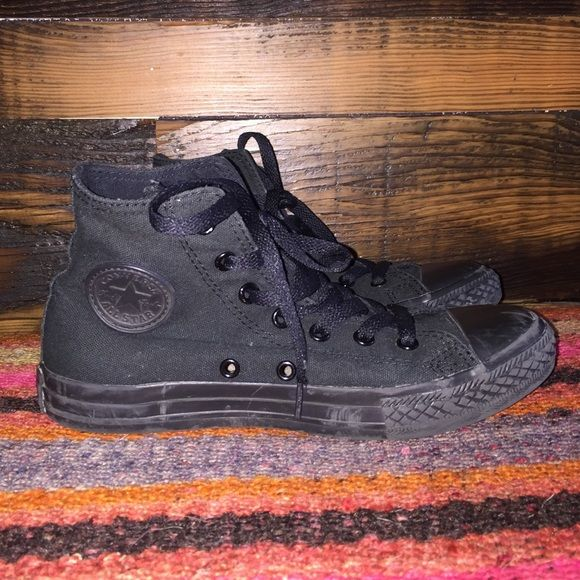 black high tops all black high top converse. will fit size 5-6 for women. only worn twice, few scuffs on top, still great condition Converse Shoes Sneakers