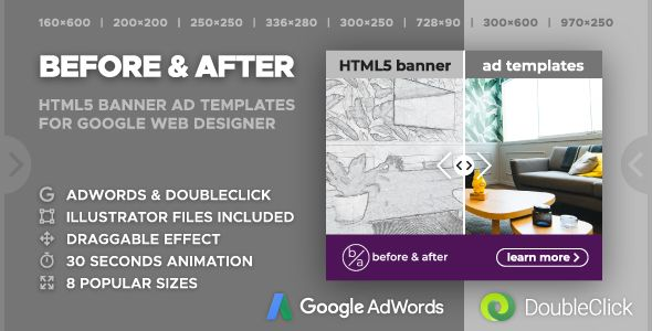Before After Interactive Animated Html5 Banner Ad Templates Gwd Jquery Banner Ads Animated Banner Ads Google Web Designer