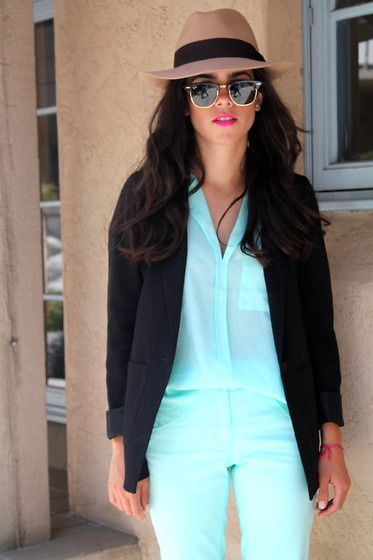 06162012 (by Lucia Mouet) http://lookbook.nu/look/3627153-6162-12: Hats, Doctors Who Outfits, Fashion Style, Mint Color, Black Fedora, Ray Ban Sunglasses, Mint Blouses, Blue Jumpsuits, Black Blazers