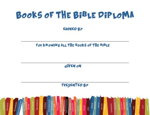 FREE Books of the Bible Diploma || Give to students at award when they have completed the Books of the Bible sections.