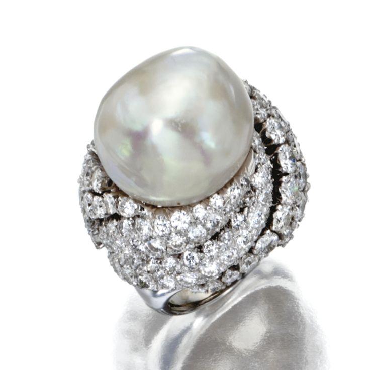 PLATINUM, BAROQUE CULTURED PEARL AND DIAMOND RING, DAVID WEBB      28,750 USD