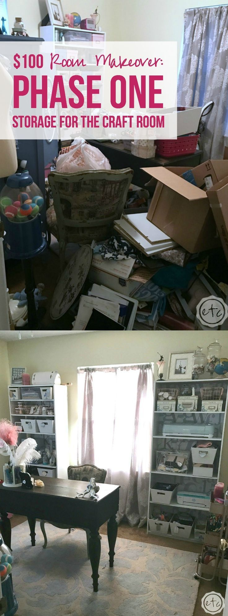 Remember the little craft room makeover I'm right in the middle of? Well it's week two and let me just put it out there… I think simply cleaning this room is going to be the biggest transformation. *wink wink* I mean do you remember the before photos from last week? They're basically giant piles of …