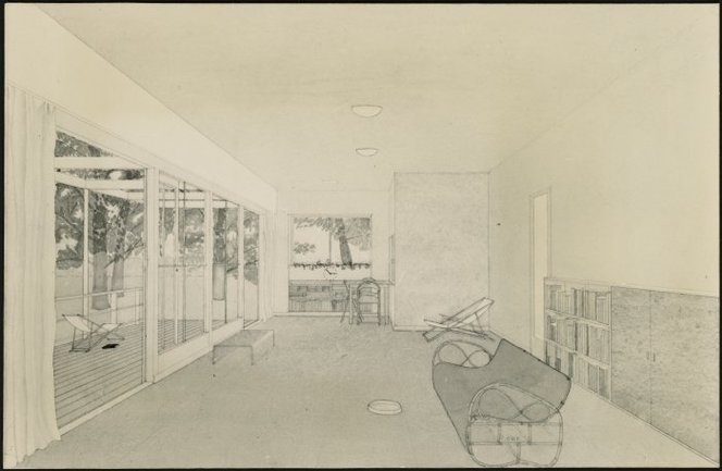 Architectural drawing of a living room interior by Cedric Firth.