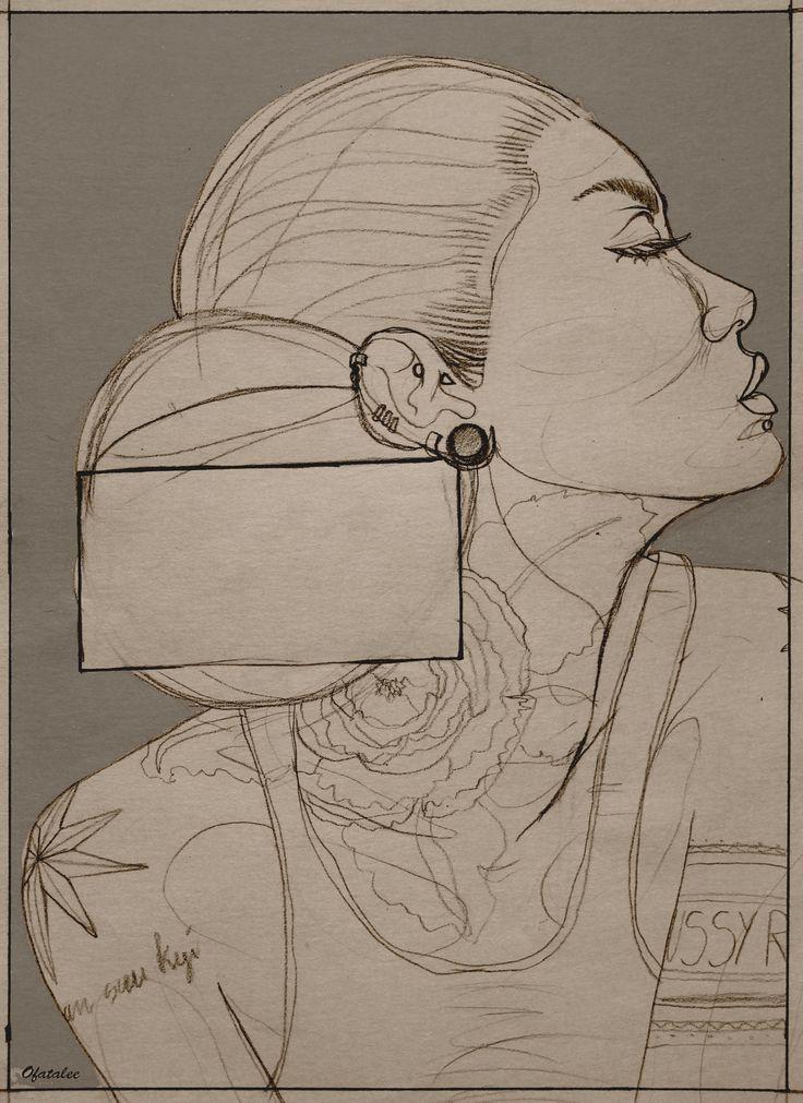inked girl sketchbook test backgroung tattoo ink illustration poster