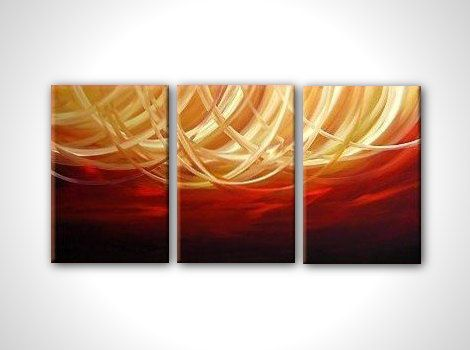 Gold and red abstract painting - contemporary abstract art - stretched and ready to hang - size 16x36. $125.00