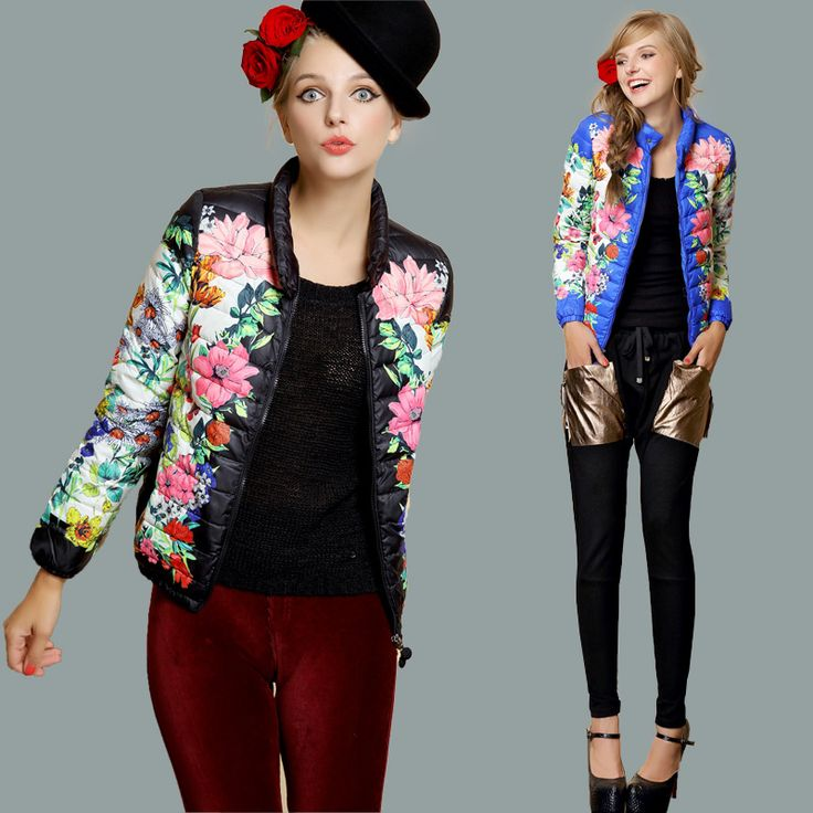 FREE SHIPPING 2014 women's flowers print down coat top outerwear 8033  HOT SELLING