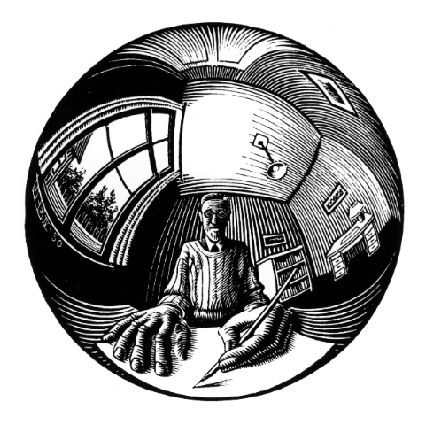 M.C. Escher - Spherical Self-Portrait, 1950. WikiPaintings.org