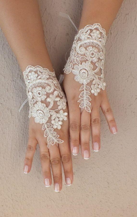 champagne de mariage Paire de gants, gants de dentelle ivoire, gants Paire de mitaines,