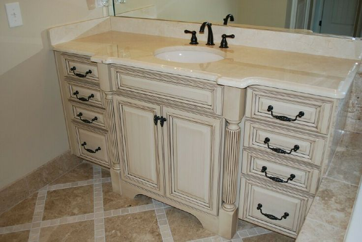 Distressed white kitchen cabinets french vanilla with - Cream distressed kitchen cabinets ...