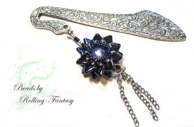 """Lesezeichen """"Pinwheel Beaded Bead"""" in silber-blau von Beads by Rolling-Fantasy auf DaWanda.com"""
