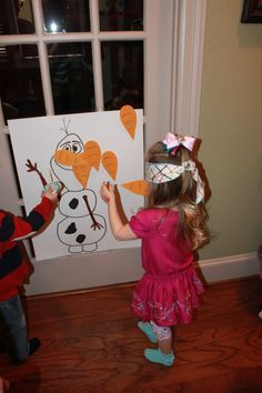 Disney Frozen party - Pin the nose on Olaf game Crystals 8th birthday party  Disney Frozen Birthday Party - Supplies, cakes and other ideas!  Disney Frozen kids birthday party anna elsa olaf decorations favors food snacks dessert drinks snowflake snowman #LipstickNBruises