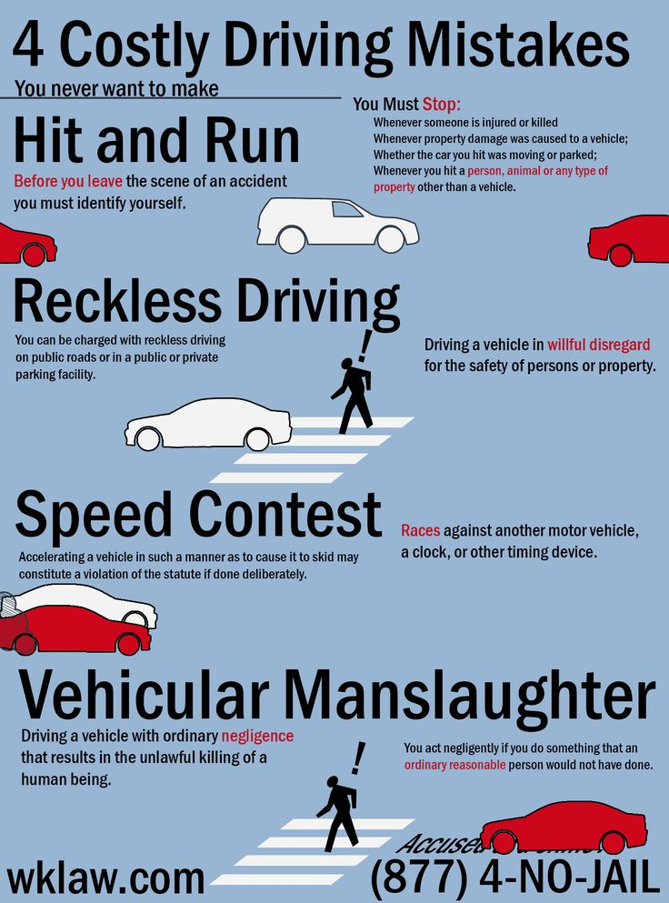 4 costly driving mistakes you never want to make (moving infographic) http://www.wklaw.com/4-common-california-traffic-violations/  #reckless #hitandrun #speed #vehicular #manslaughter