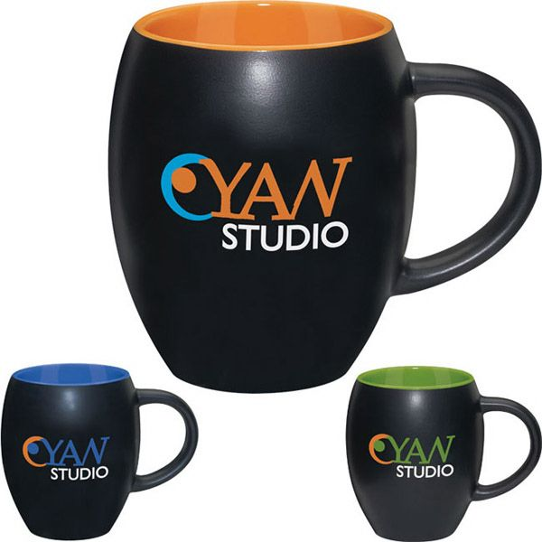 """17 oz. matte barrel with color mug. Feature a matte-finish exterior, this mug has a great barrel shape with a colorful interior. Measuring 4"""" dia x 4 1/2"""" h x 5 5/8"""" w, it reaches its 17 oz. capacity when filled to the rim. Due to the decorating process, there may be unavoidable scratches with matte finish mugs."""