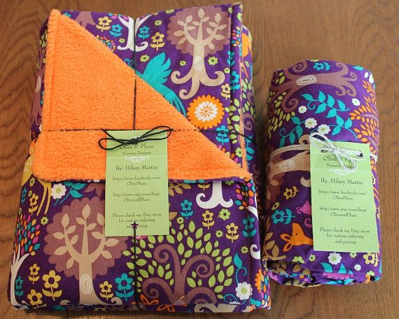 Fantasy Forest Baby Shower Gift Set. Receiving blanket and fitted crib sheet by OliveandPlum