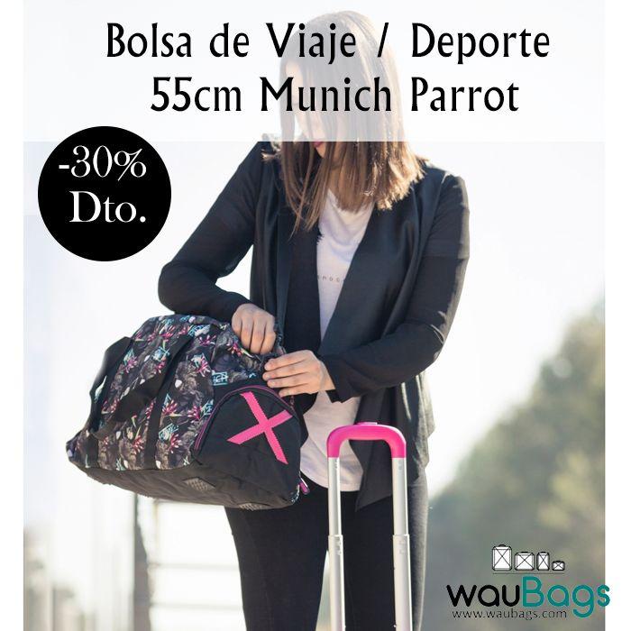 Lleva todo lo que necesites a la hora de viajar o practicar deporte en esta práctica Bolsa de Viaje / Deporte Grande Munich Parrot, ahora en waubags.com por tan solo 30,80€!!  @waubags.com #bolsa #munich #deporte #viaje #oferta #descuento #rebajas #waubags