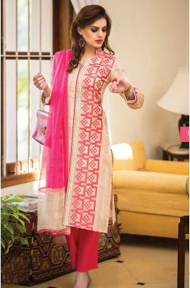 Semi-Stitched Beige and Pink Designer Cotton Salwar Suit with Chiffon Dupatta - URB2A  to buy here: http://goo.gl/EuvirT