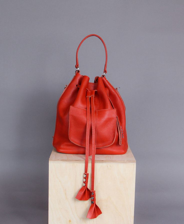 Ready  to ship Orange leather bucket   bucket bag   leather bucket bag   backpack   backpack bag   for her   navy blue leather   orange