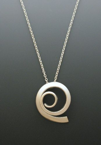 Sterling Silver Pendant, Offset Spiral, Forged Sterling, Contemporary Jewelry…