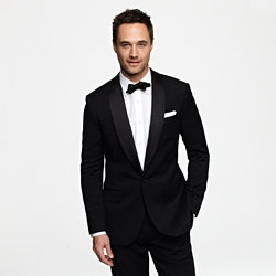 We love the classic Ludlow shawl-collar tuxedo from J Crew with double vent in Italian wool