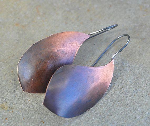 Fading leafs  earrings with black copper dangle by MONOtekst