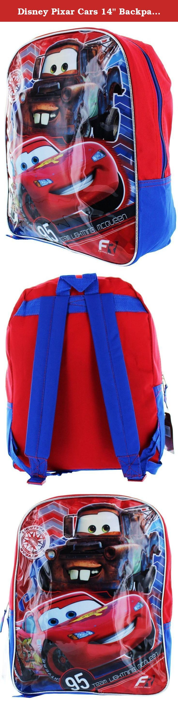 "Disney Pixar Cars 14"" Backpack - 'Formula Racer'. A 15""high x12"" wide x5"" deep backpack. Backpack has characters from Disney-Pixar cars movies."