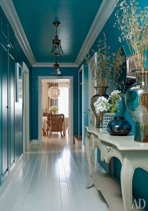 teal hallway and ceiling. It is so beautiful, you forget it is daring!