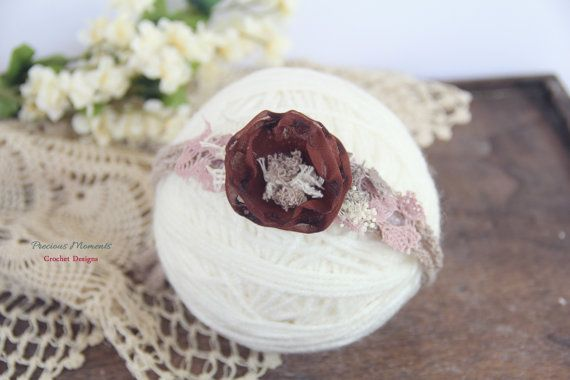 Newborn Tieback, Brown Taupe Mauve Tieback, Newborn Photo Prop, Newborn Tie Back Headband, Vintage Headband, Flower Tieback, Newborn Halo This item is Ready to SHIP This vintage inspired tieback headband is so sweet and elegant! Featuring a chocolate brown color fabric flower with