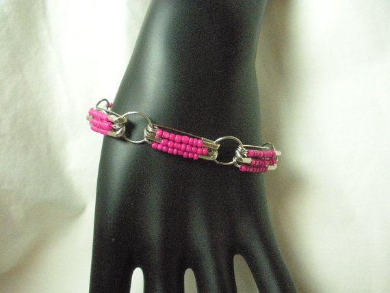 Hot Pink Beaded Safety Pin Fashion Bracelet by madebymandy35, $8.00